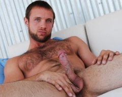 Hairy chest mature guy jerking